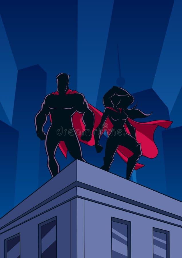De Silhouetten van het het Dakhorloge van het Superheropaar stock illustratie