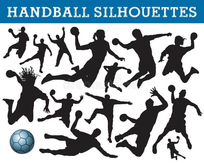 De silhouetten van het handbal stock illustratie