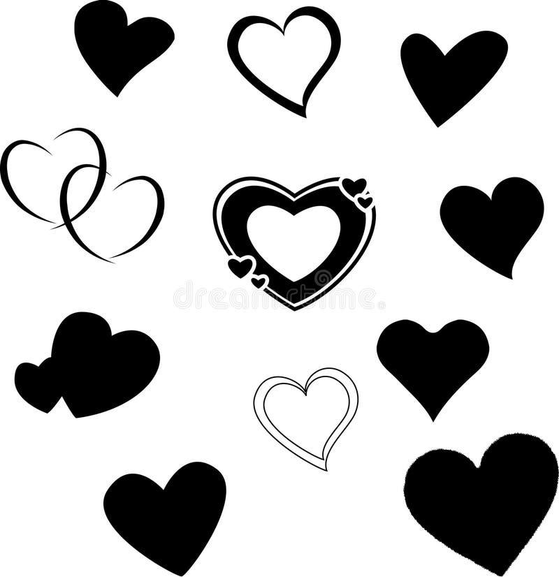 De silhouetten van het hart royalty-vrije stock afbeelding