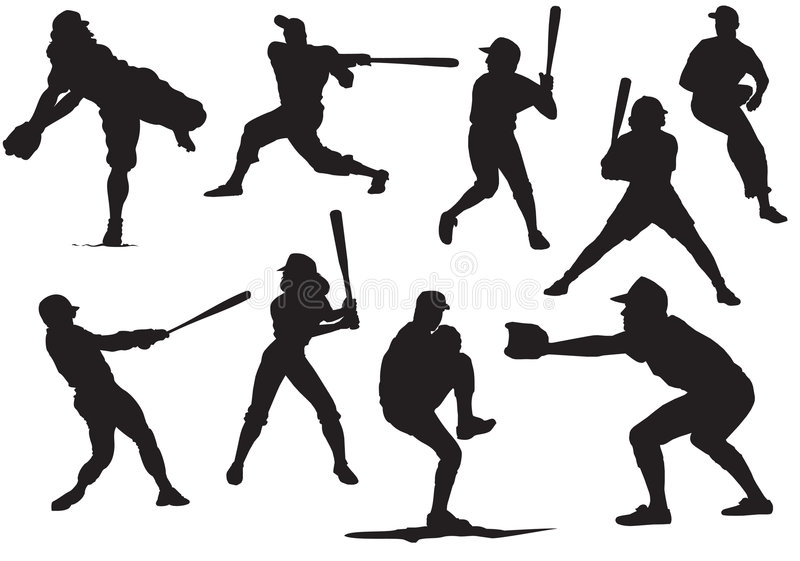De Silhouetten van het honkbal stock fotografie