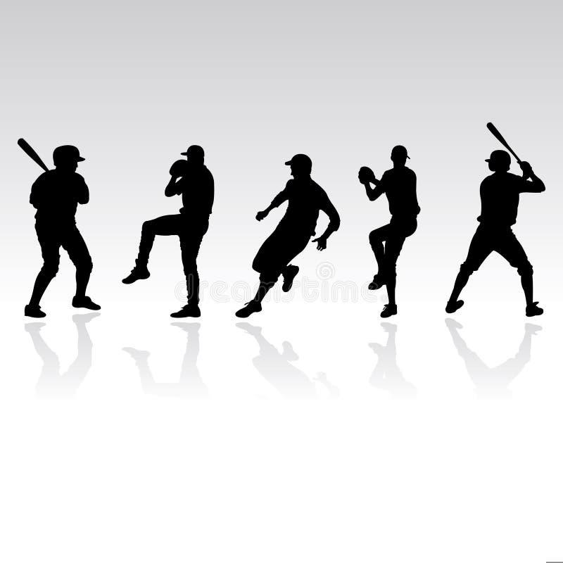 De silhouetten van het honkbal vector illustratie