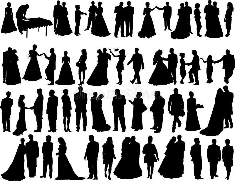 De silhouetten van het huwelijk stock illustratie