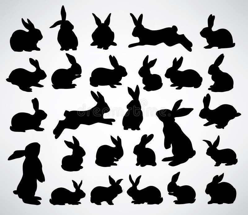 De silhouetten van het konijn royalty-vrije illustratie