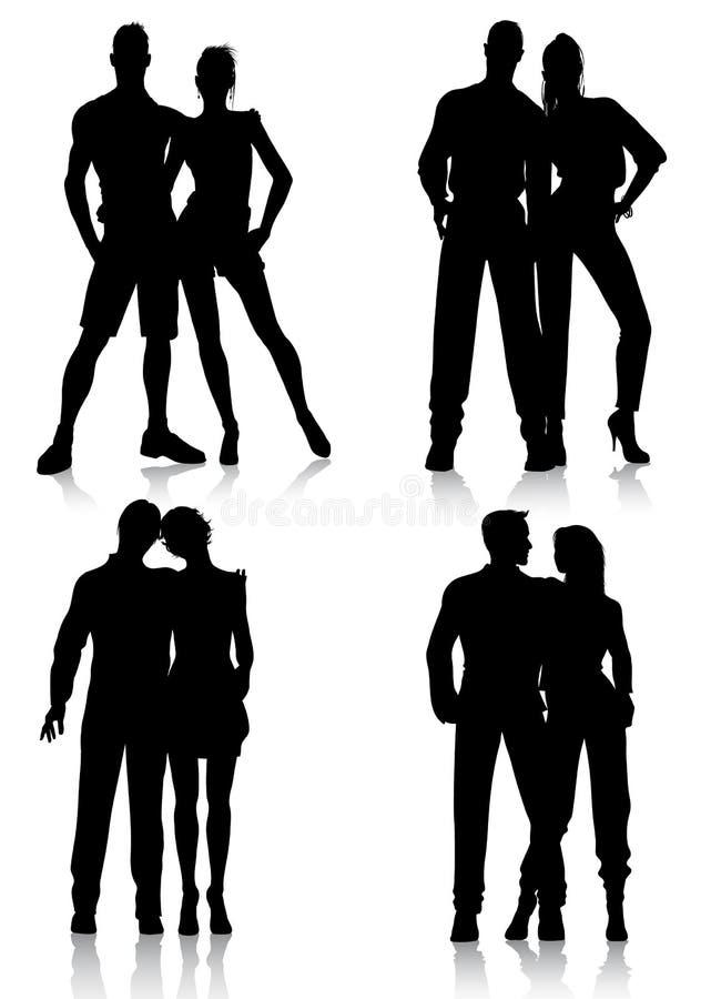 De silhouetten van het paar stock illustratie