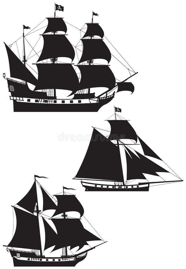 De silhouetten van het Schip van de piraat stock illustratie