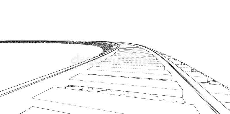 De silhouetten van het spoorwegspoor Het beeldverhaal van spoorwegsporen royalty-vrije illustratie