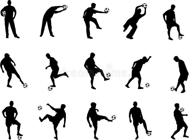 De silhouetten van het voetbal stock illustratie