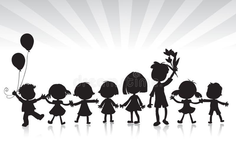 De silhouetten van jonge geitjes royalty-vrije illustratie