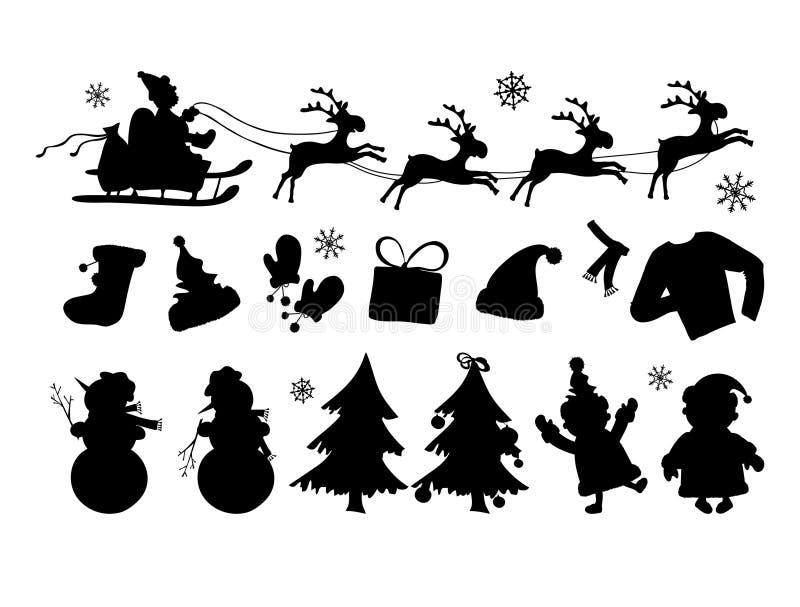 De silhouetten van Kerstmis stock illustratie