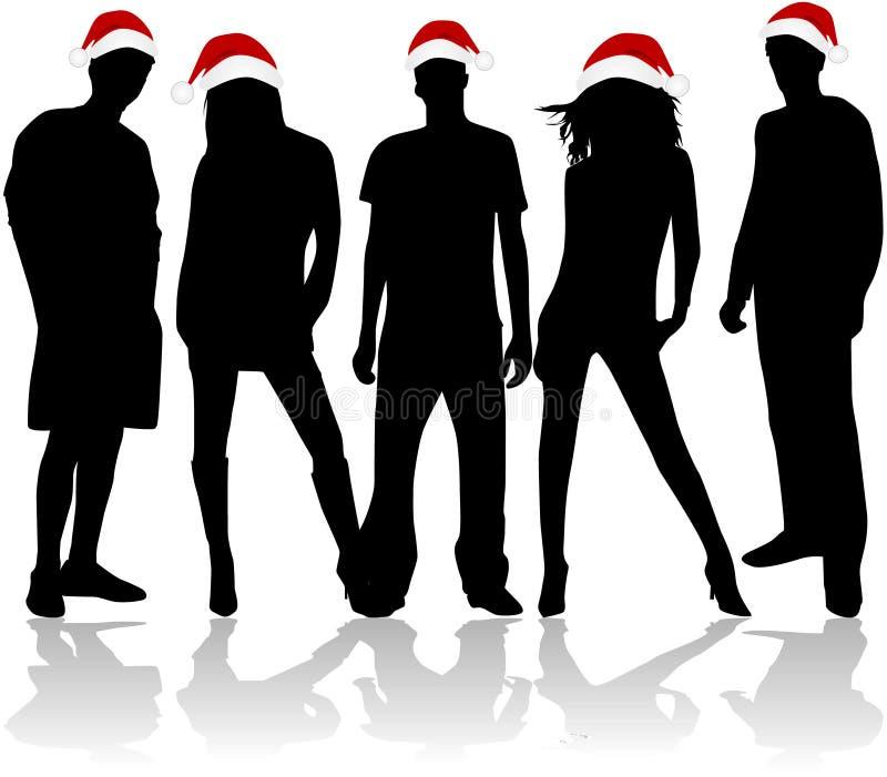 De Silhouetten van Kerstmis vector illustratie