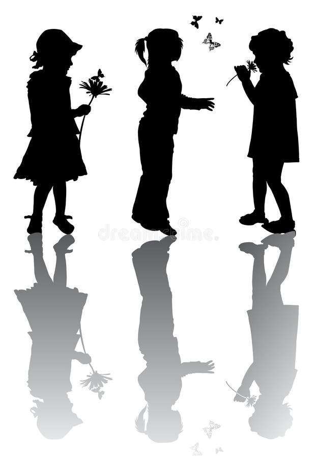 De silhouetten van kinderen stock illustratie