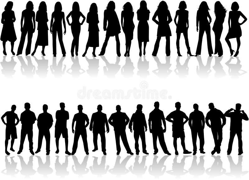 De Silhouetten van mensen, Beste vrienden stock illustratie