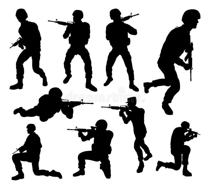 De Silhouetten van militairdetailed high quality stock illustratie
