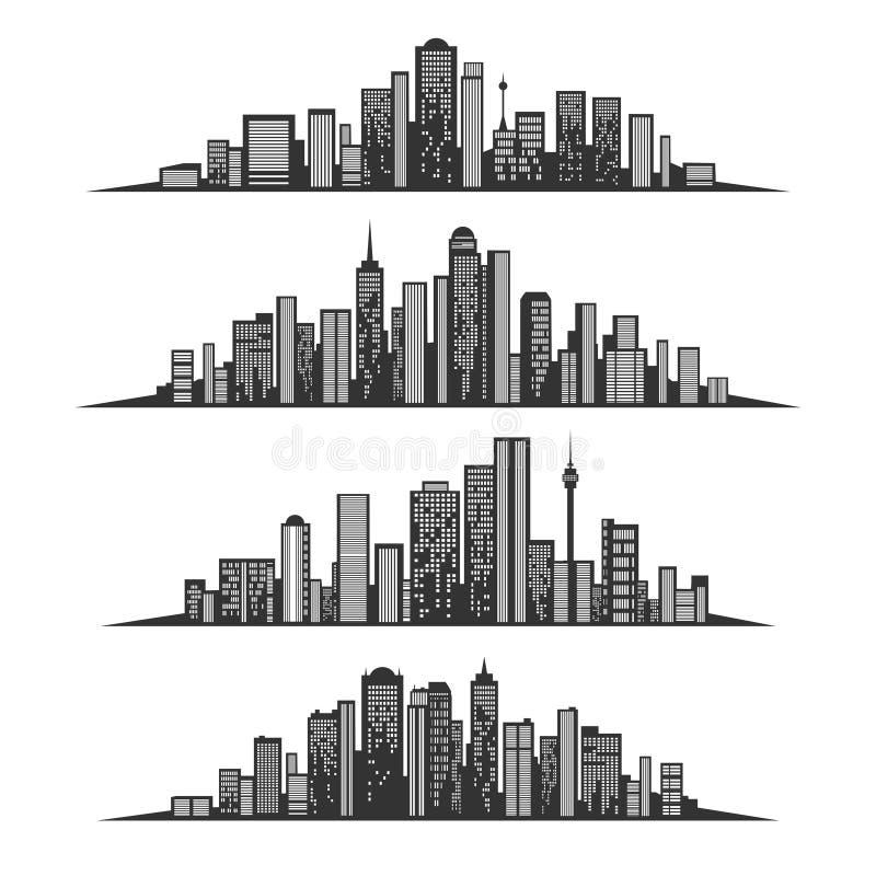 De silhouetten van de nachtstad met aangestoken vensters vector illustratie