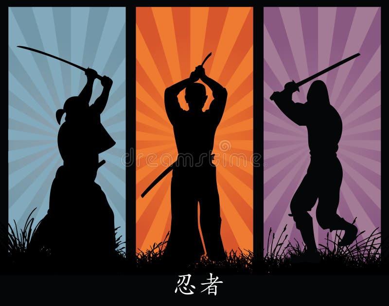 De Silhouetten van Ninja royalty-vrije illustratie