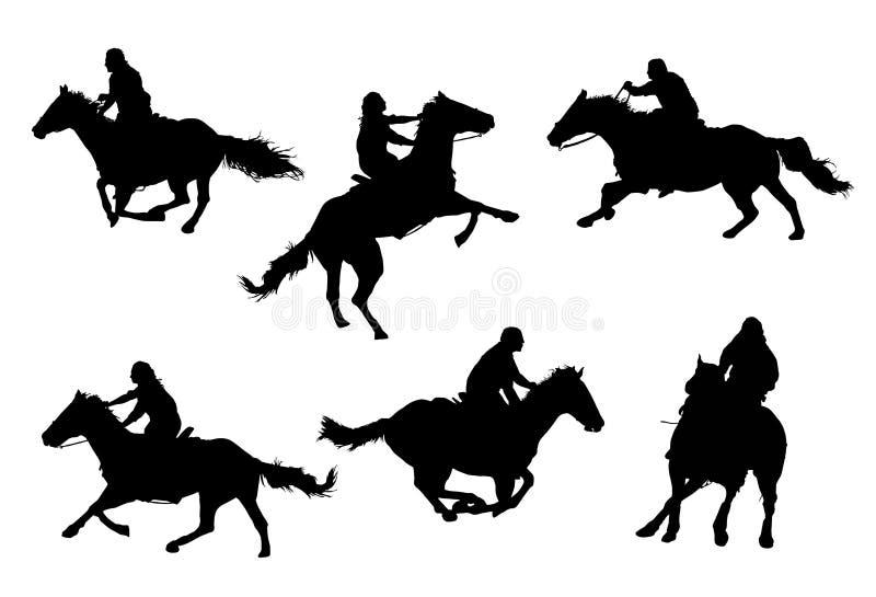 De Silhouetten van ruiters (vector) stock illustratie