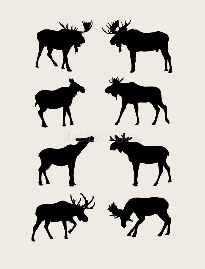 De Silhouetten van stierenamerikaanse elanden royalty-vrije illustratie