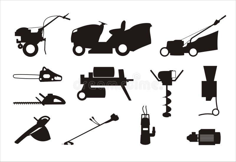De silhouetten van tuinmachines stock fotografie
