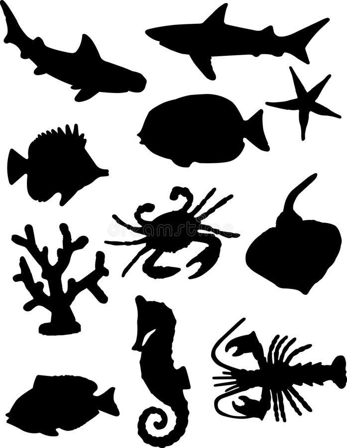 De Silhouetten van vissen stock illustratie