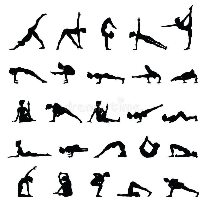 De silhouetten van vrouwen De inzameling van yoga stelt Asanareeks stock illustratie