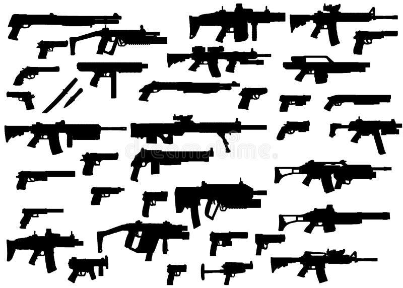 De silhouetten van wapens stock illustratie