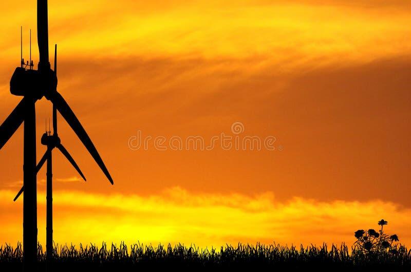 De Silhouetten van de windturbine vector illustratie