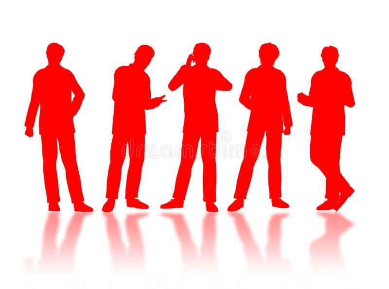 De silhouetten van zakenlieden stock illustratie