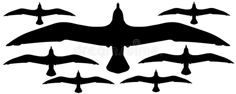 De silhouetten van zeemeeuwen stock illustratie