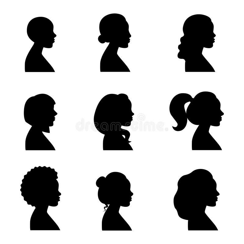 De silhouetten vectorreeks van vrouwenprofielen zwart royalty-vrije illustratie