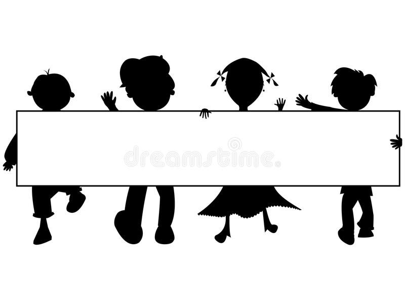 De silhouettenbanner van jonge geitjes vector illustratie