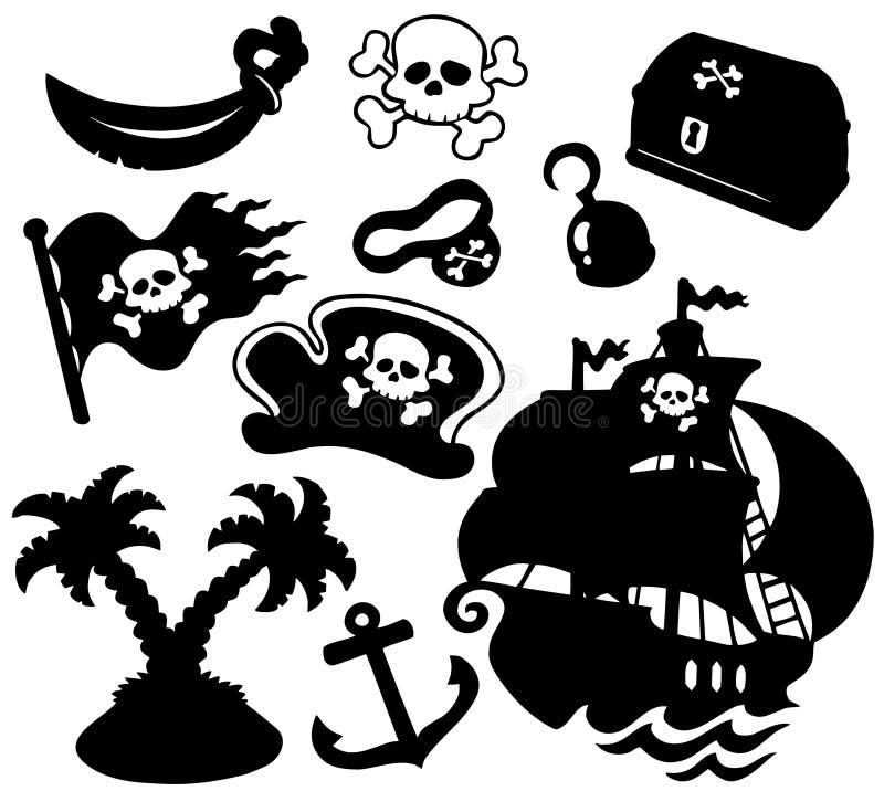 De silhouetteninzameling van de piraat vector illustratie