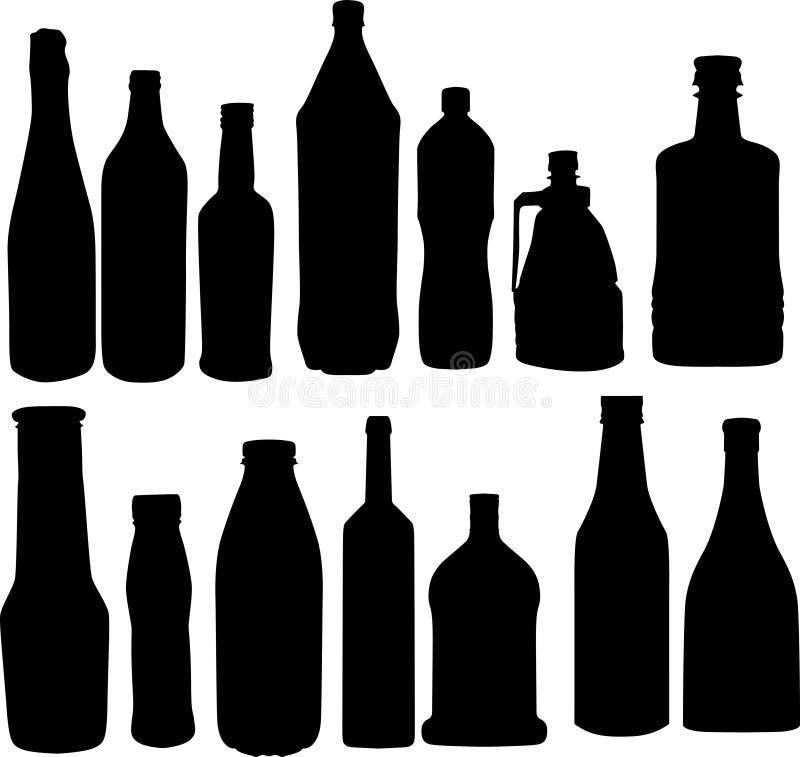 De silhouetteninzameling van flessen royalty-vrije illustratie