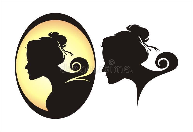 De silhouettenvector van het vrouwengezicht royalty-vrije stock afbeeldingen