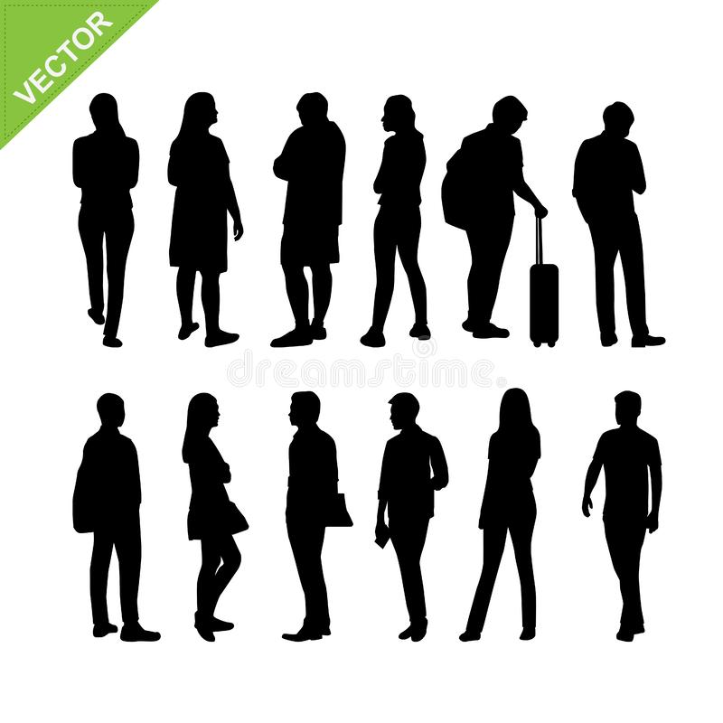 De silhouettenvector van mensen vector illustratie