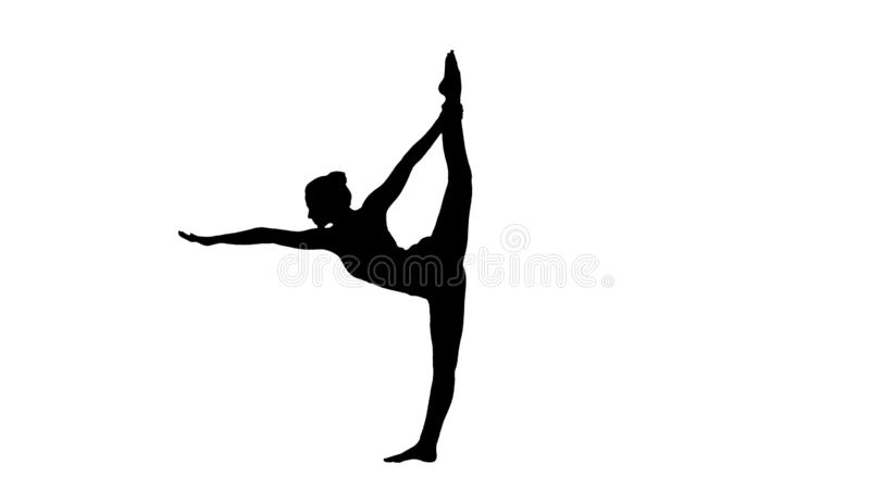 De silhouetyoga stelt, vrouw die het uitrekken zich benen, beenspleet doen vector illustratie