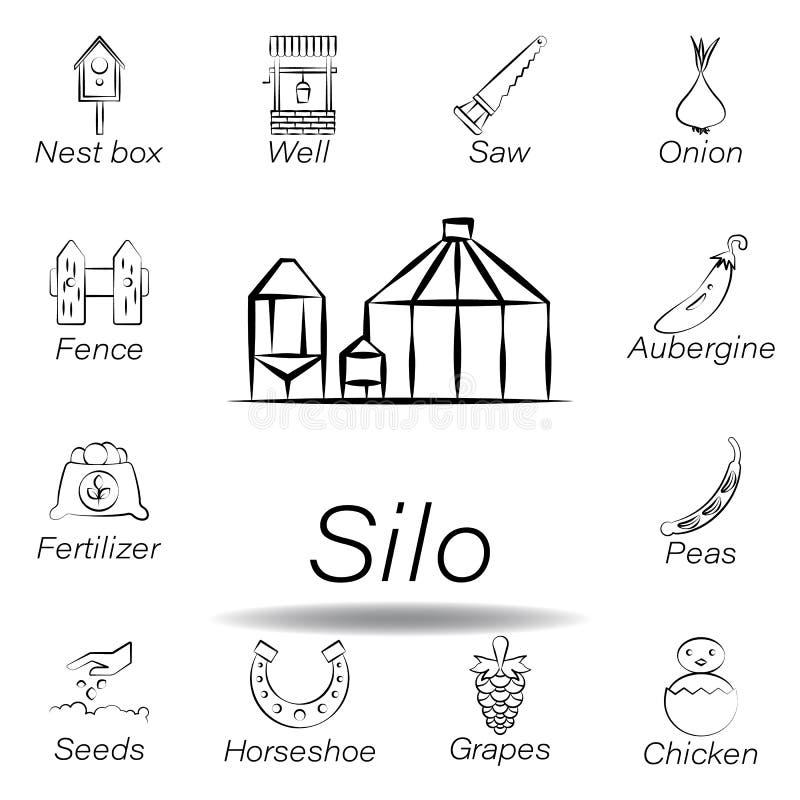 De silohand trekt pictogram Element van de landbouw van illustratiepictogrammen De tekens en de symbolen kunnen voor Web, embleem royalty-vrije illustratie
