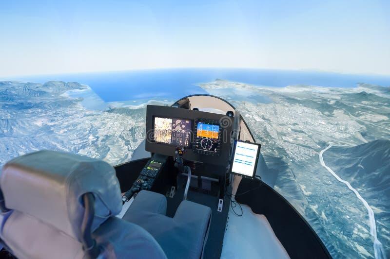 De simulator van de helikoptervlucht stock foto's