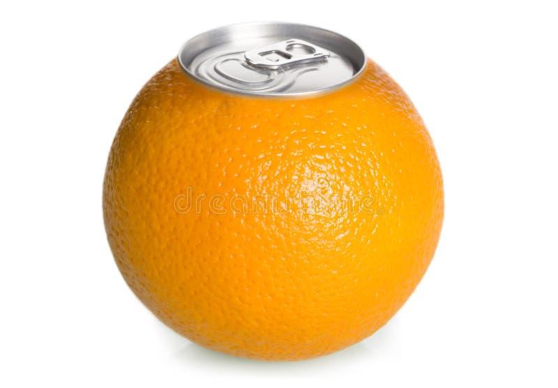 De sinaasappel kan sap, concept. stock fotografie