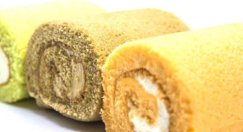 De sinaasappel van het cakebroodje, koffie en pandan stock afbeeldingen