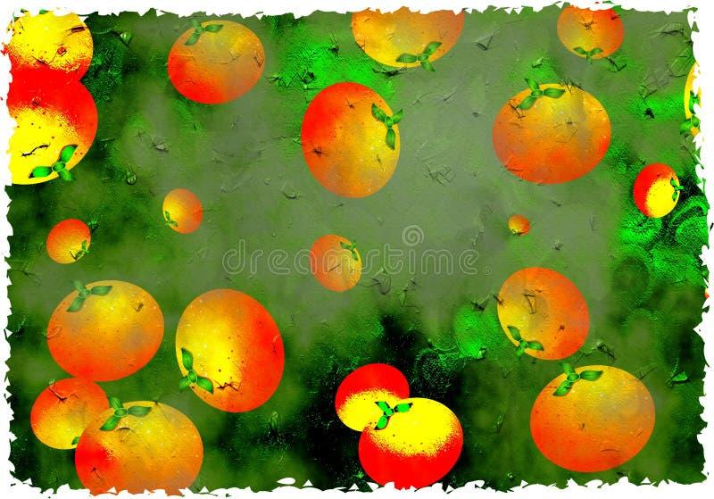 De sinaasappelen van Grunge stock illustratie