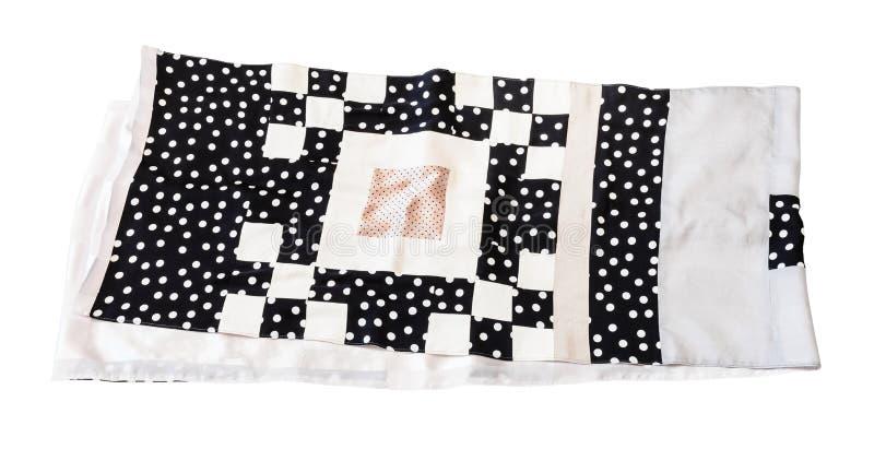 De sjaal van de lapwerkzijde die van stippenstoffen wordt genaaid royalty-vrije stock afbeelding