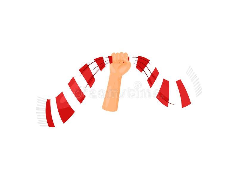 De sjaal wordt opgeheven omhoog met één hand Vector illustratie op witte achtergrond stock illustratie