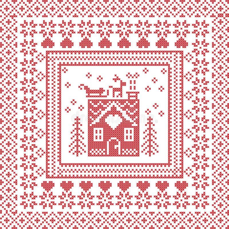 De Skandinavische Noordse de wintersteek, breiend patroon in vierkant, tegelvorm met inbegrip van sneeuwvlokken, bomen, peperkoek vector illustratie