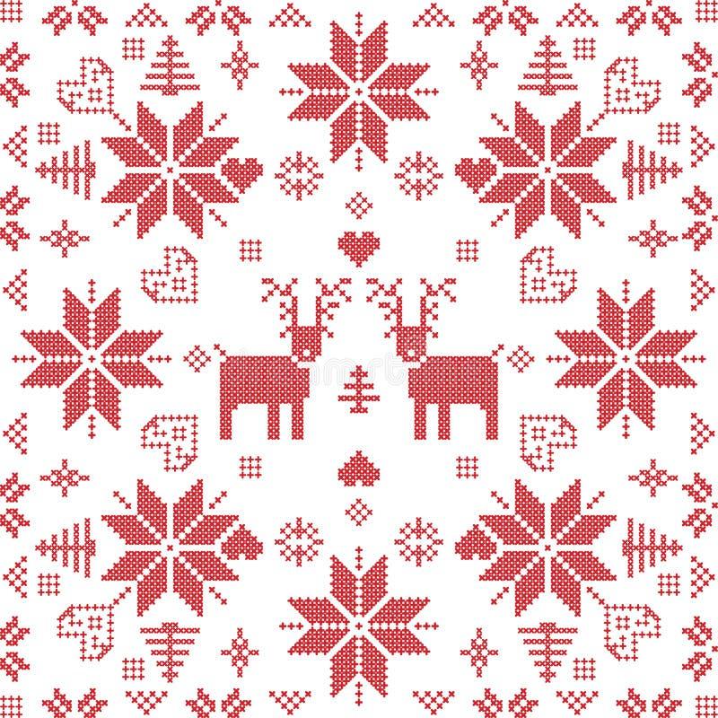 De Skandinavische stijl Noordse winter stich, breiend naadloos patroon royalty-vrije illustratie