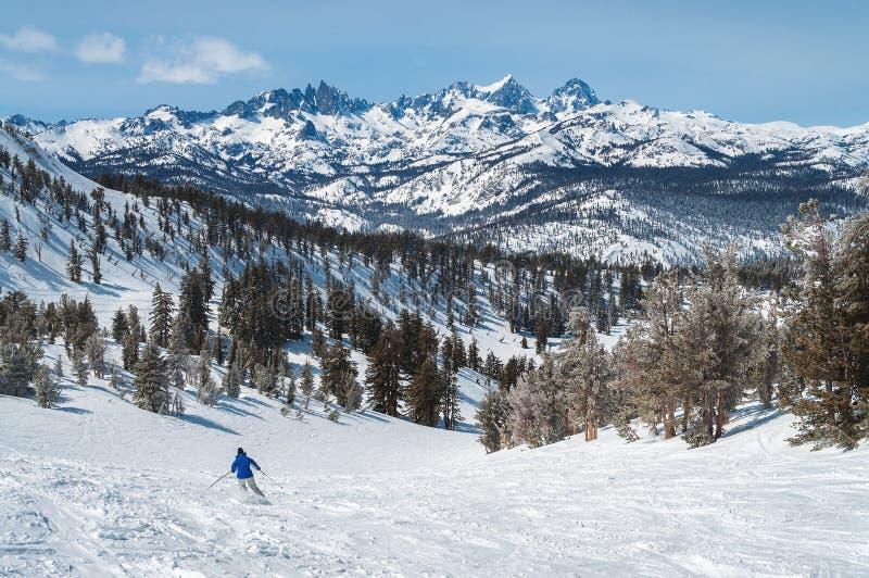 De skiër op Mammoetberg geniet van grote meningen royalty-vrije stock foto's