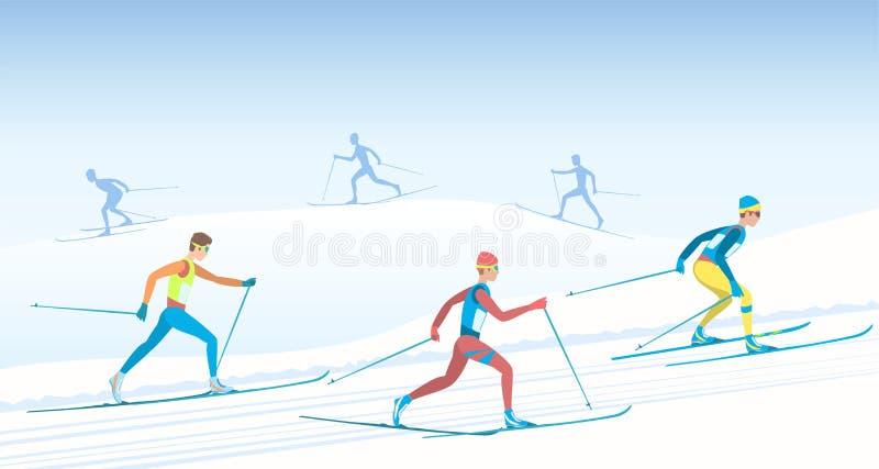 De skiër van Backcountry stock illustratie
