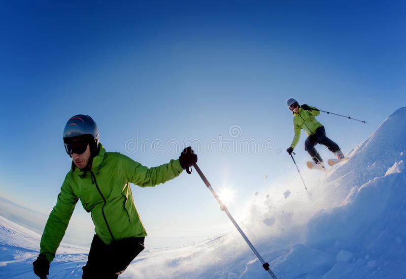De skiër van Freeride stock fotografie