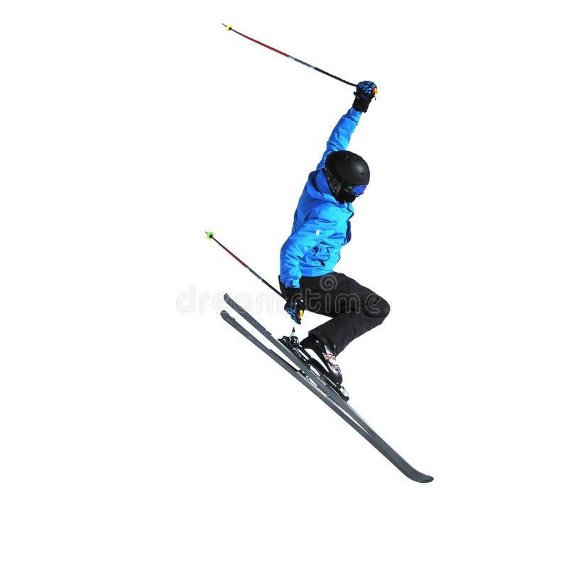 De skiër van Freeride het springen stock afbeeldingen
