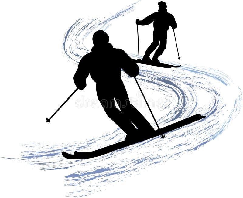 De Skiërs van de sneeuw/eps vector illustratie