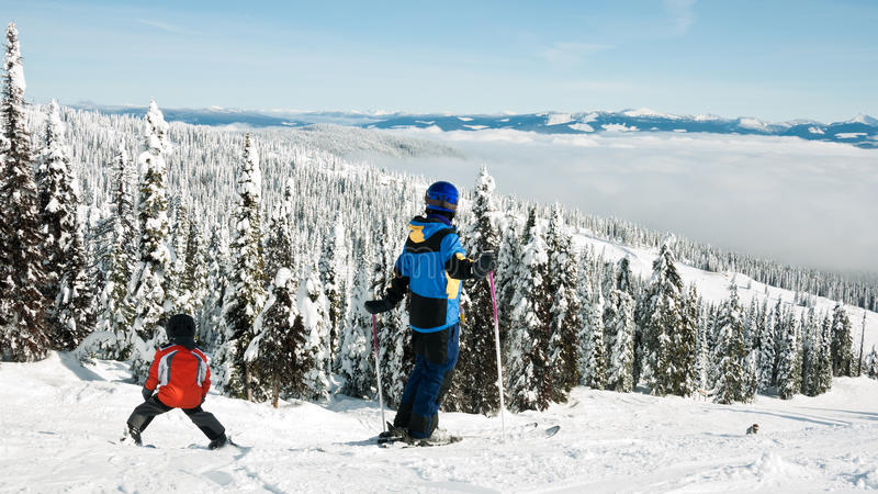 De ski van de familie